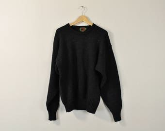 Vintage 90s Sweater, Chunky Knit Sweater, Simple Wool Sweater, Basic Oversized Slouchy Sweater, 90s Minimal Sweater, Rustic Black Jumper