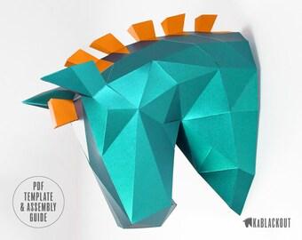 Low Poly Horse, Papercraft Horse, Trojan Horse Head, Paper Trophy, 3D Animal Papercraft Sculpture - DIY PDF Papercraft Template Download