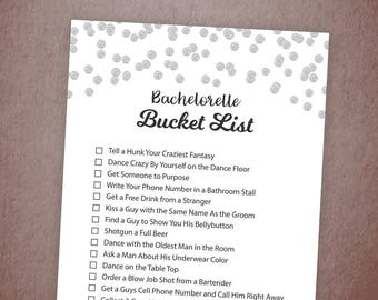 Bachelorette Party Bucket List Game Printable, Silver Confetti Bridal Shower Games, Silver Dots, Bachelorette Game, Scavenger Hunt, A003