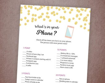 What's In Your Phone Game, Gold Confetti Bridal Shower Games Printable, Bachelorette Party Games, Whats on Your Phone, Wedding, A001