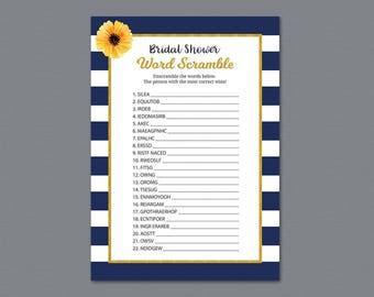 Kate Spade Bridal Word Scramble Game, Bridal Shower Games Printable, Unscramble, Word Search, Orange Navy Blue Stripes, Wedding Shower, A027