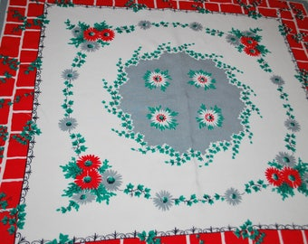 Retro Red Brick and Floral Tablecloth