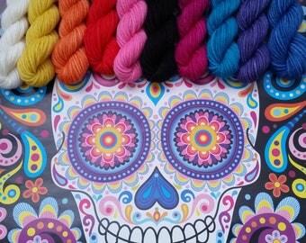 Sugar skull Shelley fingering weight 100% wool mini skein set