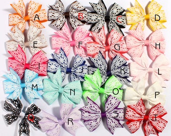 8cm 20colors Lace Pattern Grosgrain Ribbon Flower Hair Bows with Clips Boutique Threaded Ribbon Bows for Hair Accessories