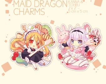 Kobayashi-san no Maid Dragon - Clear Acrylic Charms - Tohru & Kanna