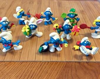 Vintage 1980s Schleich Smurf Toy Figurines - 10 Smurfs - Holiday, Sports, Etc.