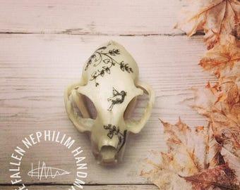 Cat Skull Curiosity Display Piece, Curio Cabinet Oddities Oddity, Taxidermy Resin Bone with little birds, Vegan Friendly!