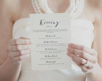 Printable Kissing Menu Template, Printable Wedding Games, Wedding Kissing Menu, Wedding Table Games, Kissing Menu Printable - KPC06_408