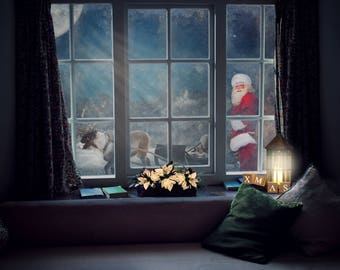 Santa Claus behind Window, Reindeer, Christmas Backdrop, digital Fantasy Background, download, Santa Composite, Photography, Photo edit
