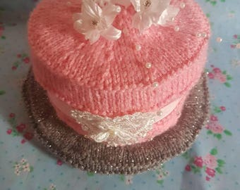 Special occasions hand knitted cake. Table decoration / Gift