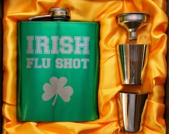 Irish Flu Shot Flask // Engraved Flask // His Gift  // Funny Flask // Hip Flask for Men // 21st Birthday Gift // 7 oz