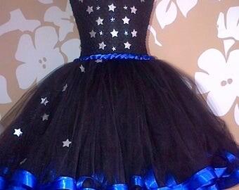 Party Dress, Ribbon Trim Party Dress, Black Party Dress, Black Tutu dress, Birthday Party Tutu, Star Detail Party Dress, Tulle Tutu Dress