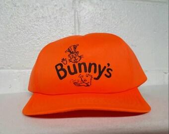 Vintage Bunny's Hi-Vis Orange Trucker Hat Snapback Cap Hunting