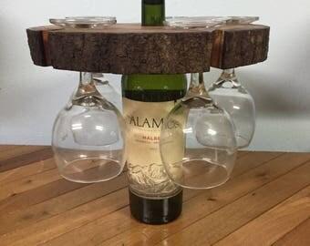 Rustic Wine Bottle & Glass Holder