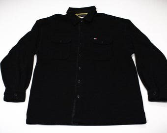 Vintage 90s Tommy Hilfiger Fleece Button-up Shirt
