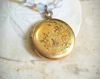 12K GF Art Nouveau Coin locket with M