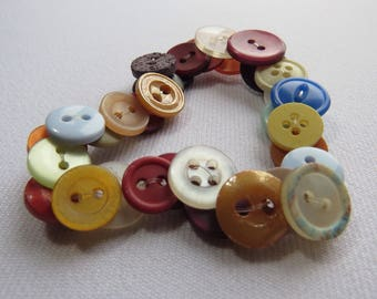 Multicoloured upcycled button bracelet