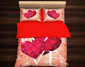 Valentine's Day Comforter,Valentines day Gift,Girlfriend birthday,gift for couple,gift idea for her,I love you,gift for woman,gift for men
