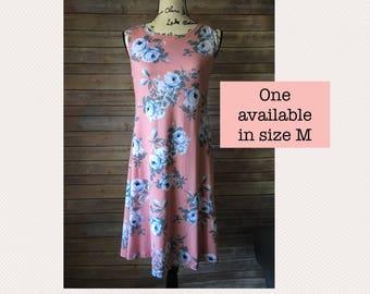 Floral Dress, Dusty Rose, Pink Dress, Knit Dress, Spring Dress, Summer Dress, Casual Dress, Boatneck Dress
