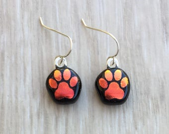 Dichroic Fused Glass Earrings - Red Orange Dog Paw Laser Engraved Etched Earrings with Solid Sterling Ear Wires
