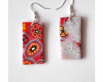 Earrings Pink mother of Pearl and silver leaves