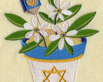 Blooming for Chanukah/Hanukkah Iron-on Patch Available in 2 Sizes // Iron on Patch // Embroidered Patch // MADE TO ORDER
