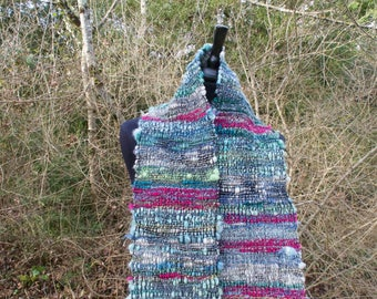 Green wool hand woven scarf