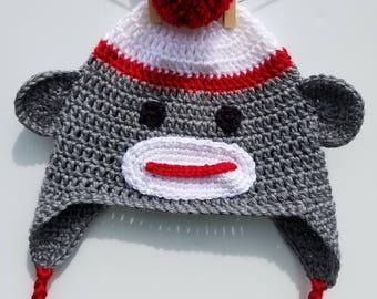 Monkey hat, crochet monkey hat, baby hat, toddler hat, children's hat, adult hat