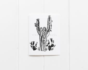 Every Day Cards/Rock On Cactus Greeting Cards/Cactus Card Set/ Desert Print Notecards/6 card pack/Blank notecards/Cactus Illustration/CC-13