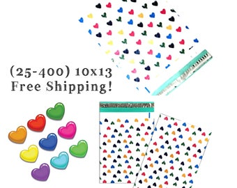 "FREE SHIPPING! (25-400 Pack) 10x13"" Colorful Hearts Designer Poly Mailers"