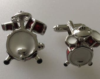 Drum Kit Red Enamel Chrome Cufflink Set Boxed
