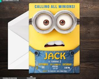 Minion Birthday Invitation, Despicable Me Invitation, Minion Card Printable, Minions Birthday Party, Minions Printable.