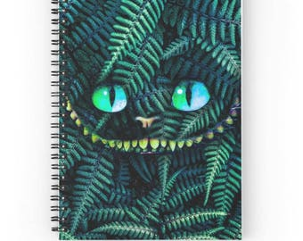 15x20 cm, Cheshire Cat Notebook, Cat Spiral Notebook, Cheshire Cat Journal, Fern Journal, Plants Journal, Plants Notebook, Cat Journal
