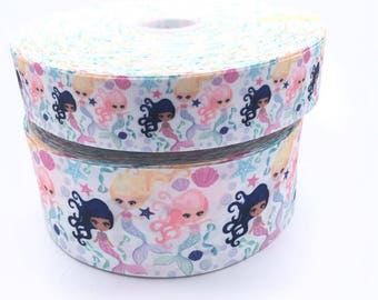 "Mystic Mermaids 3"" 1.5"" (75mm 38mm) Grosgrain Ribbon per meter"