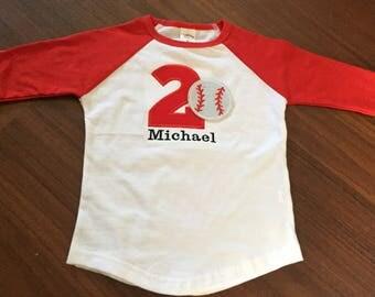 Baseball 2nd birthday baby boy shirt, baseball second birthday baseball theme party