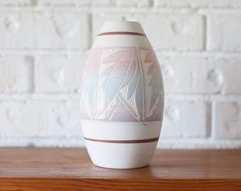Vintage Mexican Pastel Colored Pottery Vase Made By R. Gonza Artist