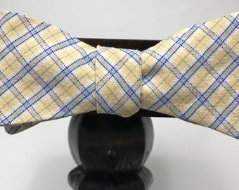 Plaid Men's bow tie, self-tie handmade and adjustable from upcycled and repurposed material  // spring time // ReTied