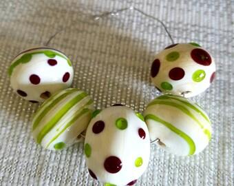 Hollow Lampwork glass bead set. 5pc Hollow bead,