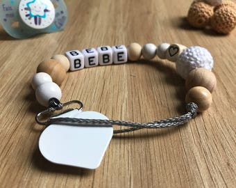 White and natural wood pacifier clip personalized
