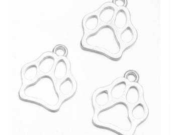 SET of 5 dog paw print charms cat Silver (B74)