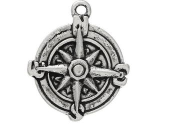 SET of 3 charms compass North South East West Silver (D27)