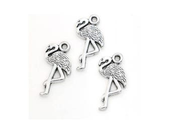 SET of 5 charms silver Flamingo bird nature sea migration (C79)