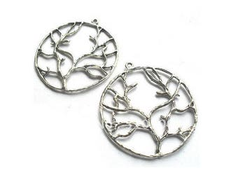 SET of 5 charm tree of life branch (Z17) silver color