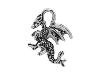 SET of 5 charms dragon magic fire flame Silver (D01)
