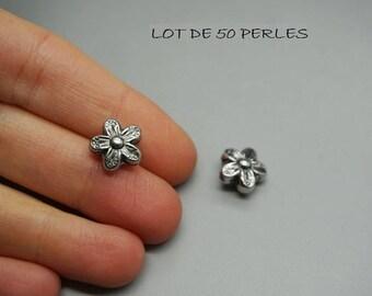 LOT 50 charm bead 10mm (W13) silver fancy flower