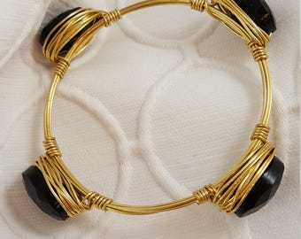 Black Beaded Wire Bracelet, wire bangle, wire bracelet, gold wire bracelet, black beaded bracelet, bridesmaid gift