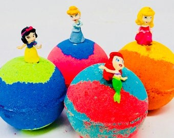 Sale! 4 5.0 oz Disney Princess Inspired Bath Bomb Birthday Favor Sets Party Favor with Princess Toy Figures Inside