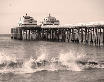MALIBU CAFE Black and White or Color Original Photograph framed or canvas gallery wrap California Beach Art Pacific Coast Highway