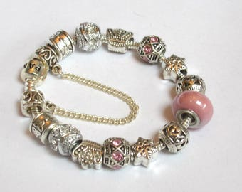 Pandora Style bracelet with pink and silver Charms