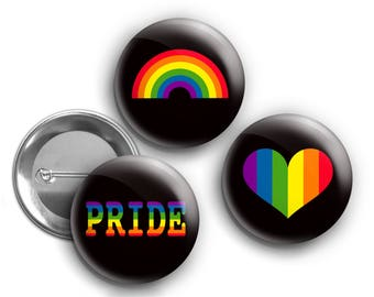 "GAY PRIDE BUTTONS 1.25"" pins heart rainbow flag lgbt punk"